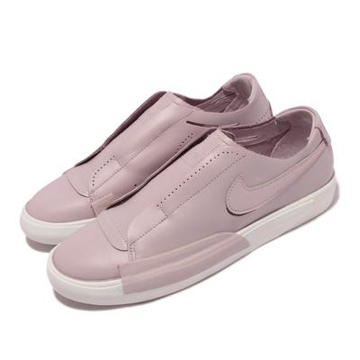 Nike 休閒鞋 Blazer Slip 套腳 女鞋 海外限定 輕便 舒適 皮革 球鞋穿搭 粉紫 白 CJ1651-001