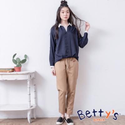 betty's貝蒂思 褲頭抽繩休閒長褲(卡其)
