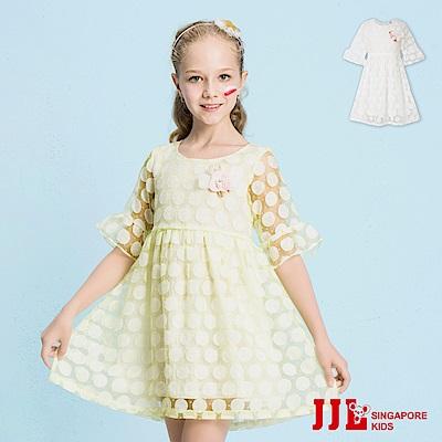 JJLKIDS 優雅圓點網紗五分荷葉袖洋裝(2色)