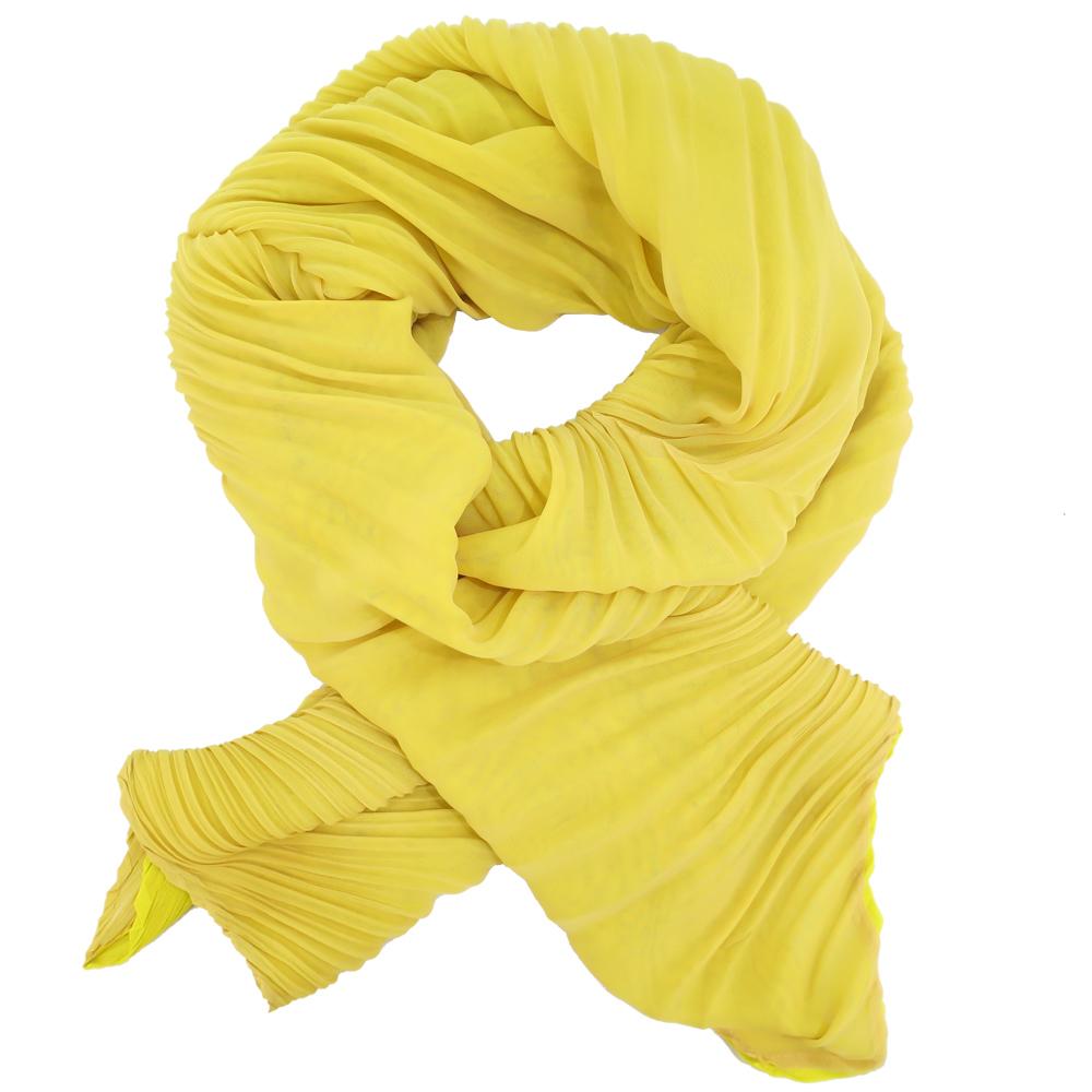 ISSEY MIYAKE 三宅一生 PLEATS PLEASE 雙色斜紋圍巾(淺黃X芥黃) @ Y!購物