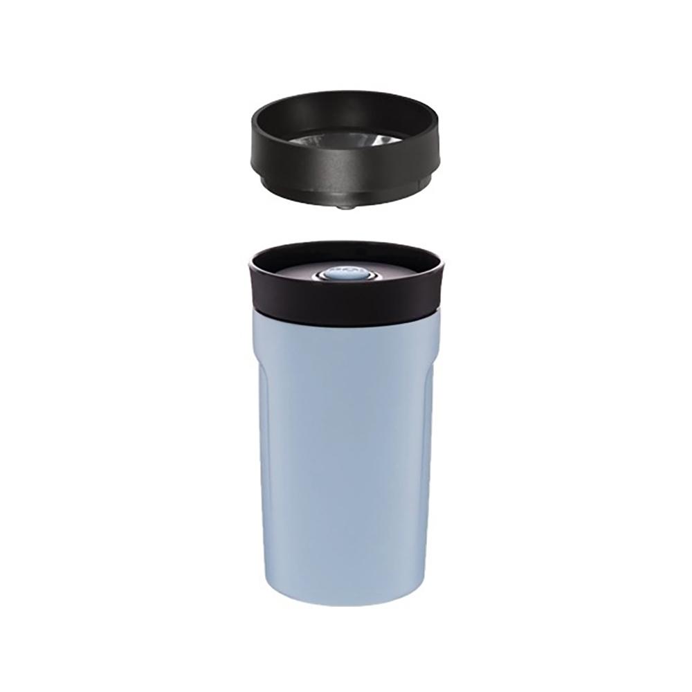 【PO:Selected】丹麥360度飲用隨行保溫咖啡杯350ml(藍)-附濾網