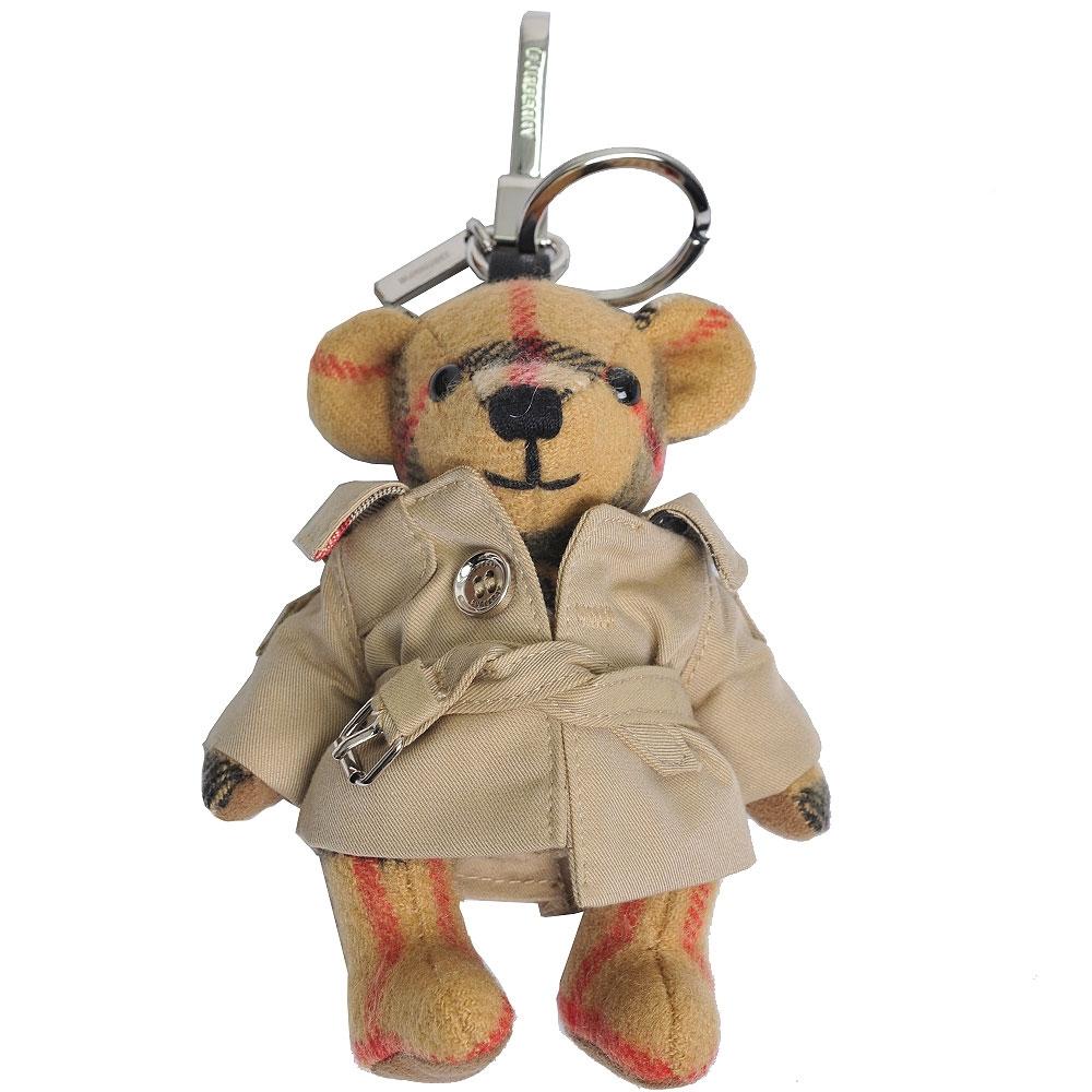 BURBERRY Thomas 經典格紋泰迪熊風衣造型鑰匙圈/吊飾(古典黃)