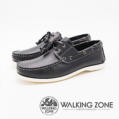 WALKING ZONE 英倫 真皮手工白線車縫帆船雷根男鞋-深藍(另有咖啡)