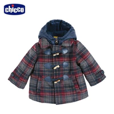 chicco-快樂學園-格紋兩件式連帽鋪棉外套
