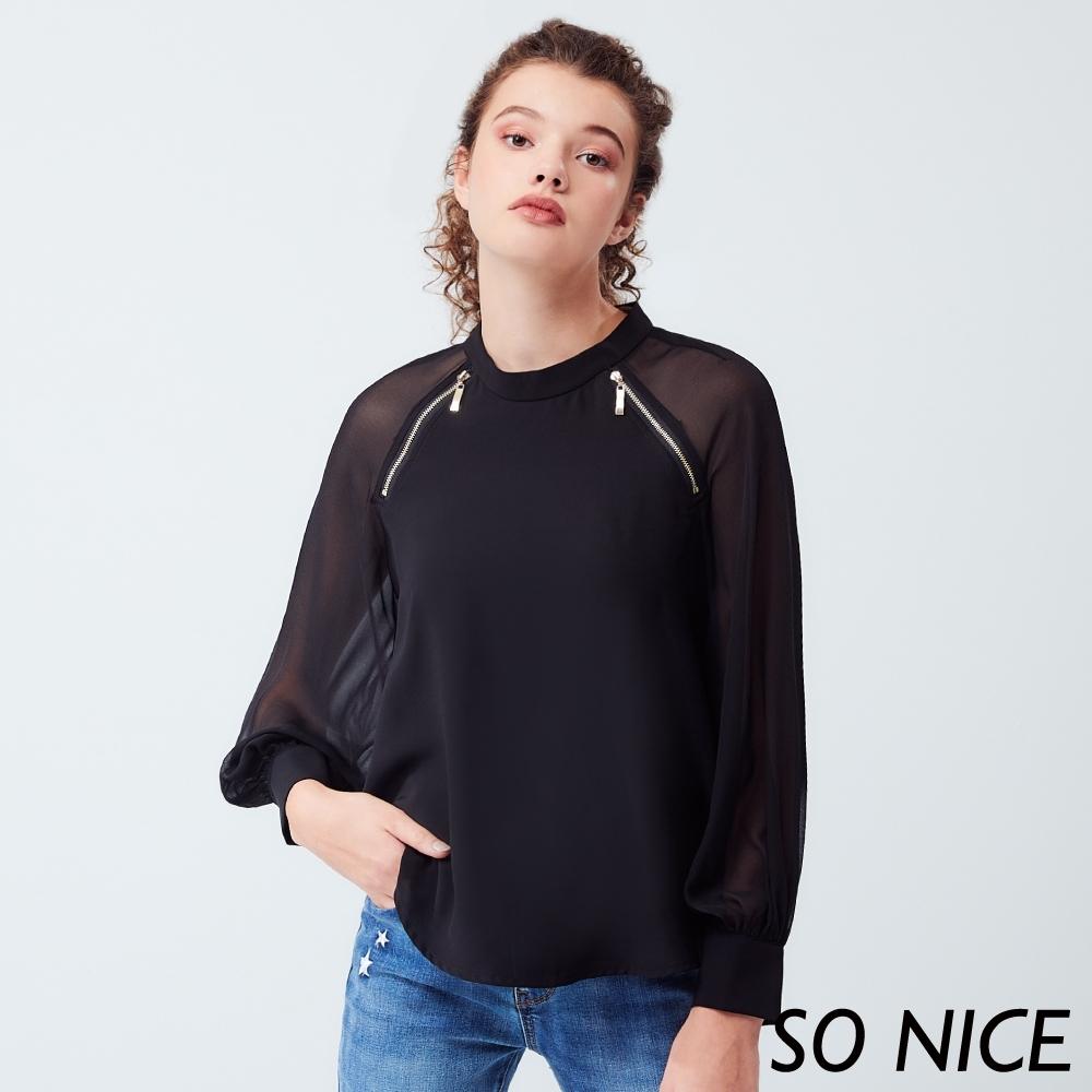 SO NICE優雅透視造型袖雪紡上衣