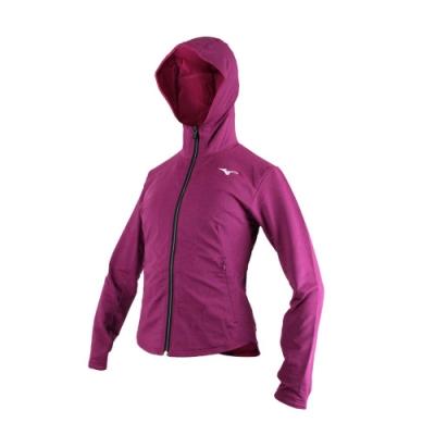 MIZUNO 女針織外套-慢跑 路跑 立領 刷毛 連帽外套 美津濃 深紫白