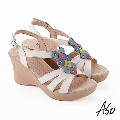 A.S.O 挺麗氣墊 撞色拼接全真皮奈米楔型涼鞋 白