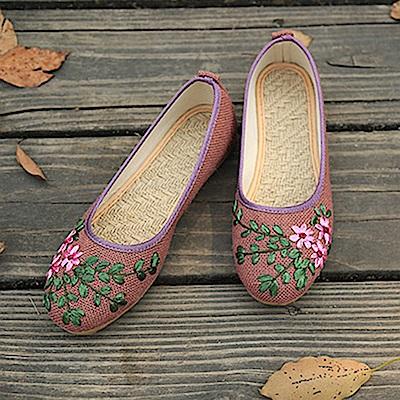 KEITH-WILL時尚鞋館 手工花卉刺繡透氣防臭鞋-紫粉色