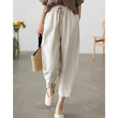 亞麻寬鬆顯瘦百搭直筒韓版九分褲子-設計所在