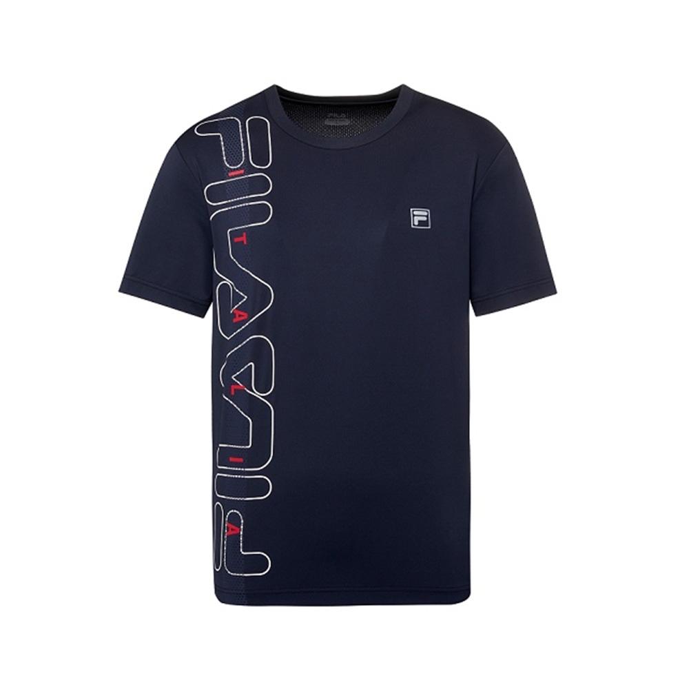 FILA 男抗UV吸濕排汗T恤-丈青 1TEV-1302-NV