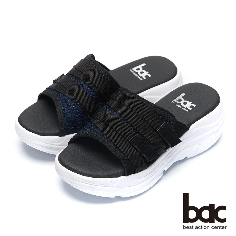 bac加州陽光-輕量化飛織布一片式運動風厚底拖鞋-深藍