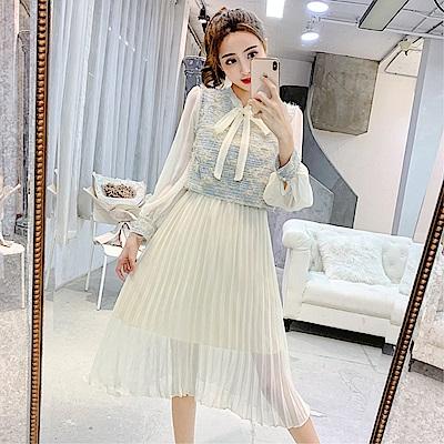 DABI 韓系流蘇呢子背心馬甲百褶連身裙套裝長袖裙裝