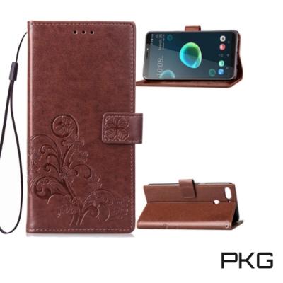 PKG HTC Desire12 Plus 側翻式皮套-精選皮套系列-幸運草-棕