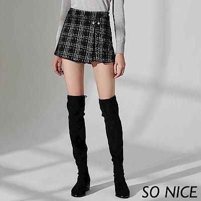 SO NICE都會優雅經典粗花呢裙褲