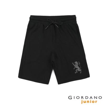GIORDANO 童裝獅王刺繡針織短褲-92 標誌黑