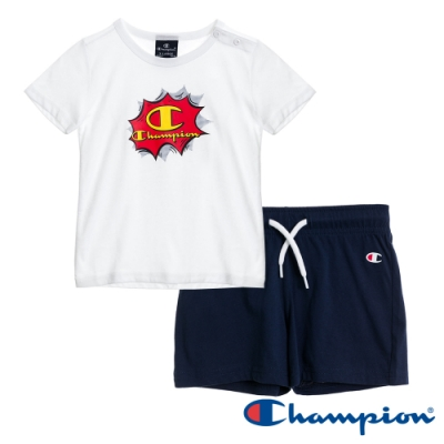 Champion EU小童短袖套裝 白x深藍