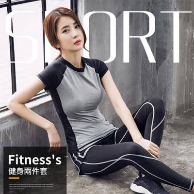 【AFAMIC 艾法】韓版速乾瑜伽健身兩件運動套裝(短袖上衣+兩件式修身長褲)
