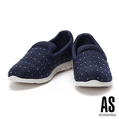 休閒鞋 AS 閃爍耀眼雙色晶鑽設計厚底休閒鞋-藍