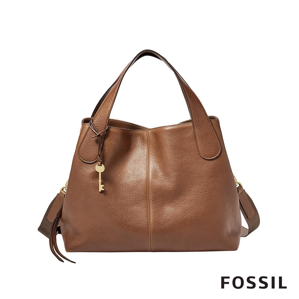 FOSSIL Maya 柔軟真皮多夾層手提/側背兩用包-咖啡色 ZB7566200