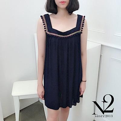 洋裝 正韓波希米亞民族風無袖及膝洋裝(藍) N2