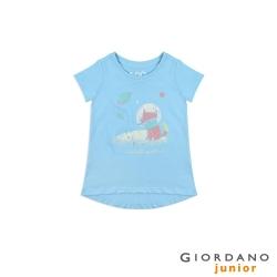 GIORDANO 童裝純棉手繪塗鴉印花T恤-63 藍鐘