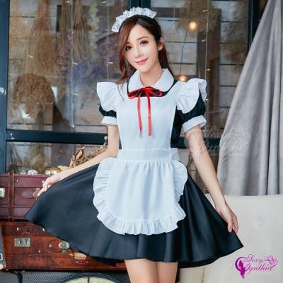 Sexy Cynthia 角色扮演 日系純情學生女僕三件式圍裙連身裙角色服-黑F