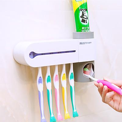 [限時下殺]【家適帝】紫外線多功能牙刷消毒防蟑收納架 (附自動擠牙膏器)