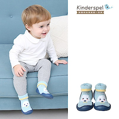 【Kinderspel】套腳腳襪型學步鞋-13CM(粉藍捲捲毛)