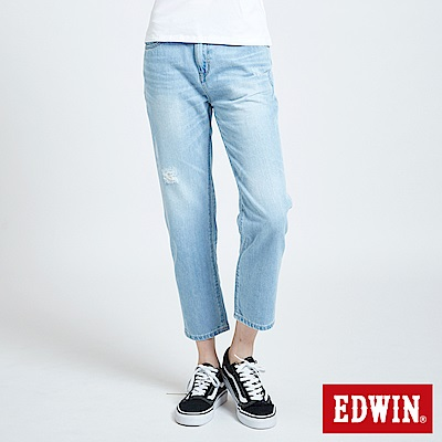 EDWIN MISS 503微破加工AB牛仔褲-女-重漂藍