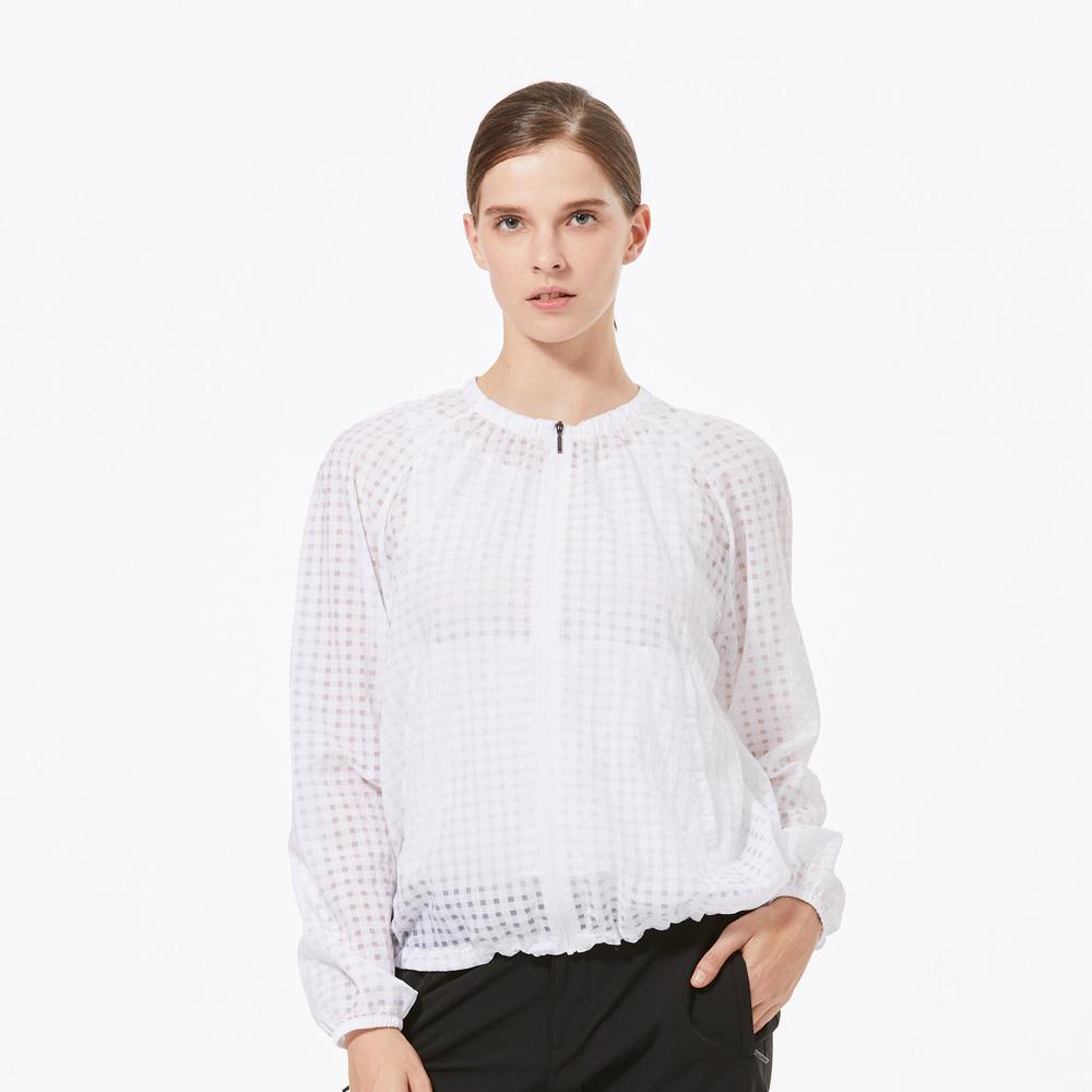 【HAKERS 哈克士】女 抗UV防潑格紋外套-白色