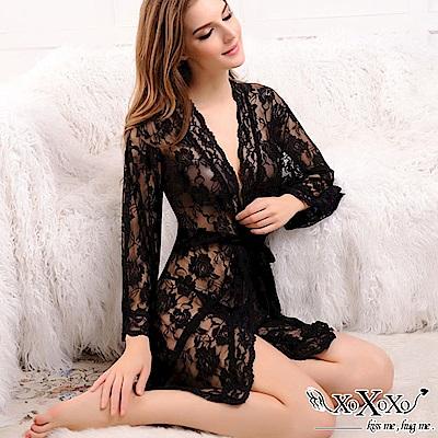 罩衫 玫瑰花語蕾絲三件式睡衣組 挑逗黑 XOXOXO