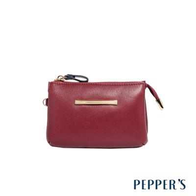 PEPPER S Ellie 羊皮三層零錢包 - 櫻桃紅
