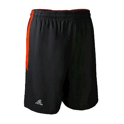 【ZEPRO】男子撞色剪裁排汗運動短褲-黑橘