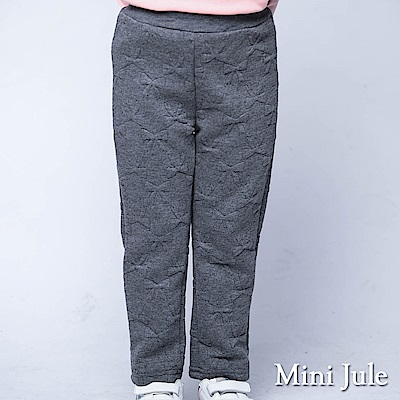 Mini Jule 褲子 純色滿版蝴蝶結鬆緊厚棉長褲(深灰)