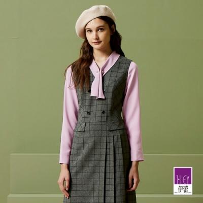 ILEY伊蕾 氣質珍珠造型領巾上衣(綠/紫)