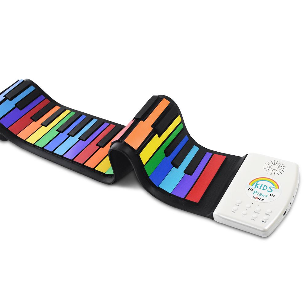 【Konix】49鍵彩虹兒童手捲鋼琴 鋰電池版 鋼琴學習 音樂入門