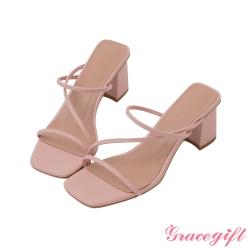 Grace gift-Z字方頭高跟涼拖鞋 粉紅