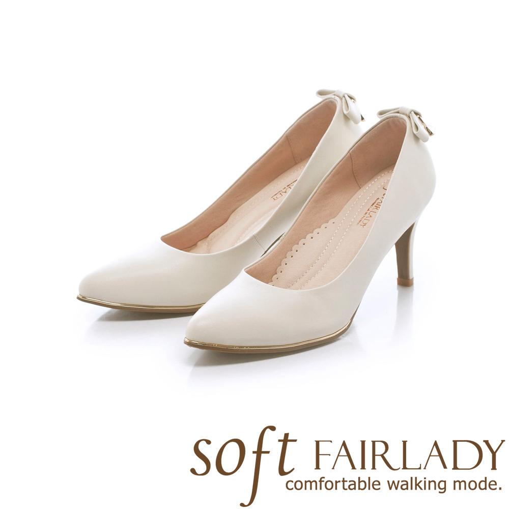 Fair Lady Soft芯太軟 尖頭高雅素色蝴蝶結鞋尾高跟鞋 經典白