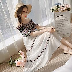 DABI 韓國風ins超火性感一字領露肩收腰雪紡裙短袖洋裝