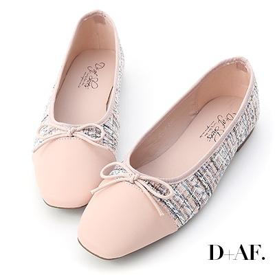 D+AF 甜漾歐風.毛呢料拼接芭蕾娃娃鞋*粉