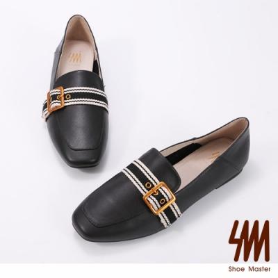 SM-方頭皮帶扣環獨特樂福鞋