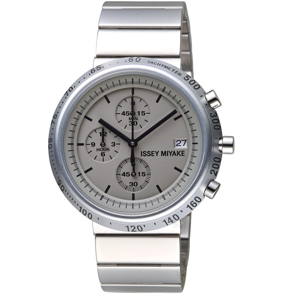 ISSEY MIYAKE三宅一生TRAPEZOID系列計時腕錶(SILAZ002Y)-銀