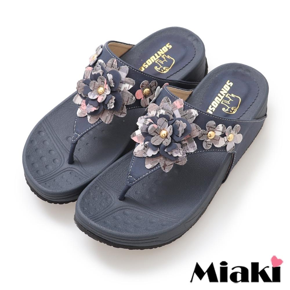 Miaki-拖鞋甜美時尚小花厚底涼鞋-藍