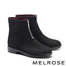 短靴 MELROSE 個性時尚拉鍊造型防水絨布低跟短靴-黑