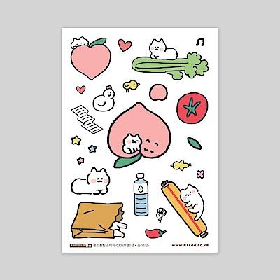 ByNACOO 自剪貼紙包(10入)-032貓咪水蜜桃