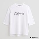 Hang Ten - 女裝 - 純色字母印花五分袖上衣 - 白