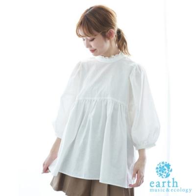 earth music 後蝴蝶綁結設計摺邊領棉麻上衣