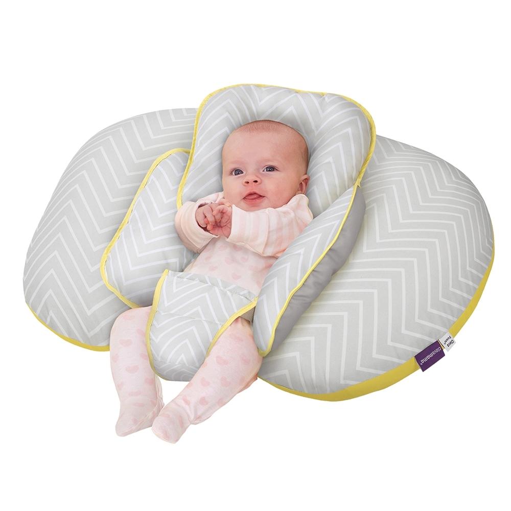 奇哥 ClevaMama 十合一育嬰枕-菱紋黃灰