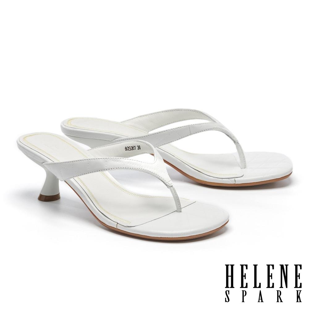 拖鞋 HELENE SPARK 極簡菱格壓紋全真皮人字高跟拖鞋-白