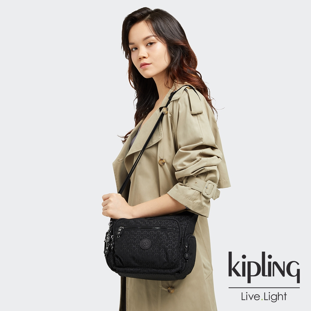 Kipling 經典黑菱格紋印花多袋實用側背包-GABBIE S